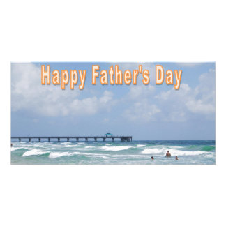 Father s Day at the Beach Personalized Photo Card