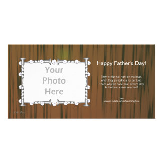 Father s Day Wood and Nails Photo Greeting Card
