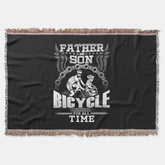Father Son Bicycle Throw Blanket