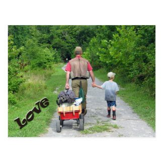 Father & Son returning from the river /  Love! Postcard