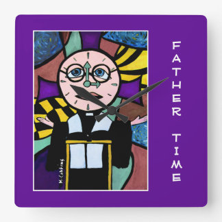 Father Time On Purple  - Time Pieces Square Wall Clock
