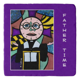 Father Time On Purple Time Pieces Trivet