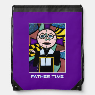 Father Time - Purple -Time  Pieces Drawstring Bag