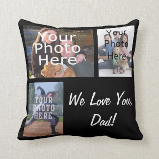 Father's Day 3 Photo Collage Custom Pillow