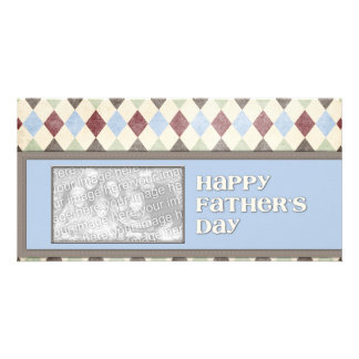 Fathers Day ADD YOUR PHOTO Argyle Customized Photo Card