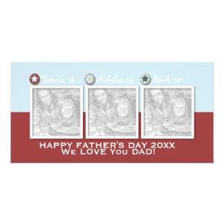 Fathers Day - ADD YOUR PHOTOS - 3 Stars Photo Greeting Card