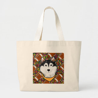 Fathers Day Alaskan Malamute Large Tote Bag