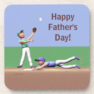 Fathers Day Baseball Characters Drink Coasters
