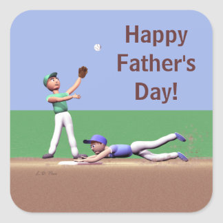 Fathers Day Baseball Characters Square Sticker