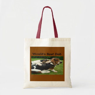 Father's Day Basset Hounds World's Best Dad Tote Bag