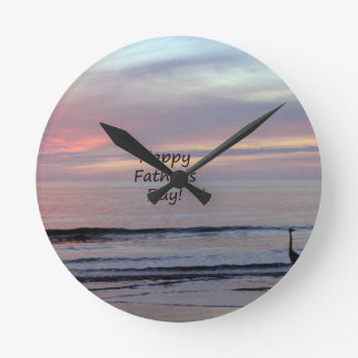 Father's Day Beach Heron Wallclock