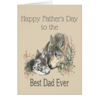 Father's Day Best Dad Ever Wolf Watercolor Animal Card