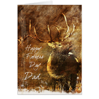 Father's Day Card with a Bull Elk Illustrationtio