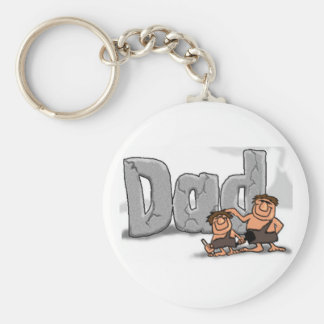 Fathers Day Caveman Dad Basic Round Button Keychain