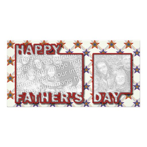 Fathers Day Cut Out ADD YOUR PHOTO Field of Stars Picture Card