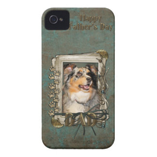 Fathers Day DAD - Stone Paws - Australian Shepherd Case-Mate iPhone 4 Cases