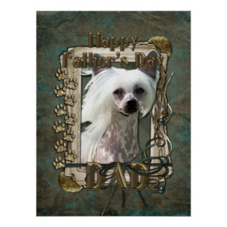 Fathers Day DAD - Stone Paws - Chinese Crested Poster