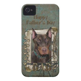 Fathers Day DAD - Stone Paws - Doberman - Red iPhone 4 Case