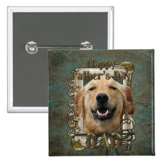 Fathers Day DAD Stone Paws Golden Retriever Mickey 2 Inch Square Button