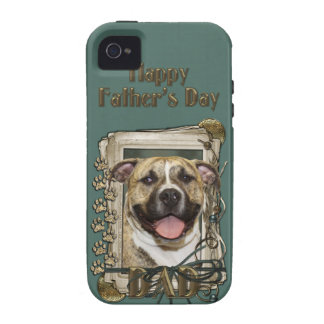 Fathers Day DAD - Stone Paws - Pitbull - Tigger iPhone 4/4S Case