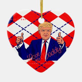 fathers day donald trump ceramic heart ornament