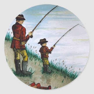 Fathers Day fishing card Classic Round Sticker