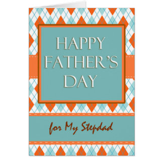 Father's Day for Stepdad, Argyle Geometric Design Card