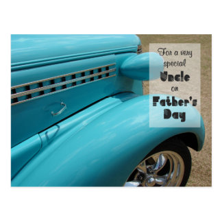 Father's Day for Uncle Hot Rod Humor Photo Postcard