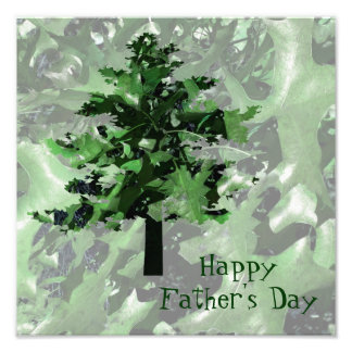 Father's Day Green Tree Silhouette Photographic Print