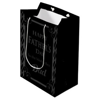 "Father's Day - ""Happy Father's Day"" Black/Grey Medium Gift Bag"