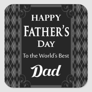 "Father's Day - ""Happy Father's Day"" Black/Grey Square Sticker"