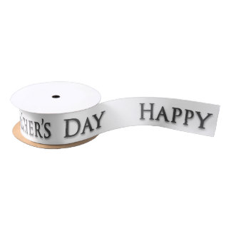"Father's Day ""Happy Father's Day"" in Grey on White Satin Ribbon"