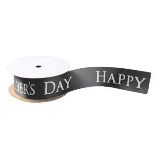 "Father's Day ""Happy Father's Day"" in White / Grey Satin Ribbon"