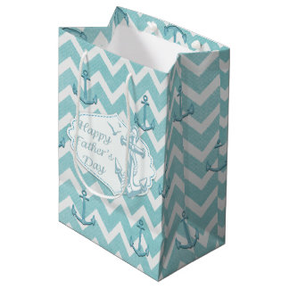 "Father's Day - ""Happy Father's Day"" - Nautical Medium Gift Bag"