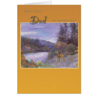 father's day  illustrated landscape with wildlife greeting card