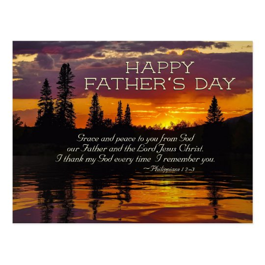 Father's Day Inspirational Bible Verse, Sunset Postcard