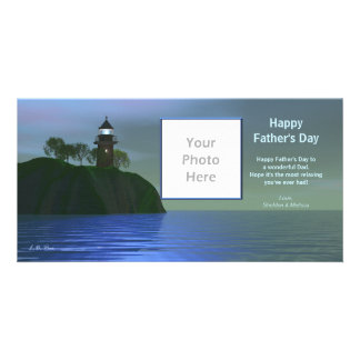 Father's Day Lighthouse - Blue Custom Photo Card