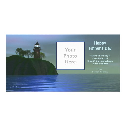 Father's Day Lighthouse - Blue Photo Card Template