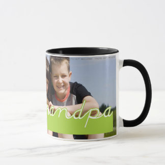 Fathers Day Love Grandpa Photo Green Text Design Mug