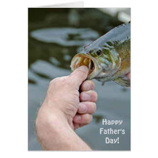 Father's Day-man holding largemouth bass Card