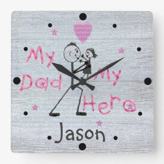 Father's Day My Hero Dad & Daughter Clock