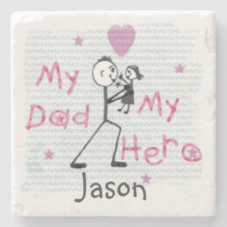 Father's Day My Hero Dad & Daughter Coaster Stone Beverage Coaster