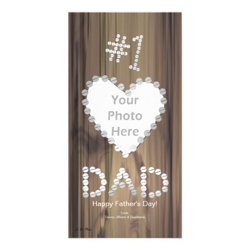 Father's Day - Number One Dad on Wood Picture Card