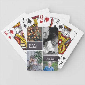Father's Day, Photo Collage Collage, Chalkboard Playing Cards