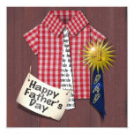 """Father's Day Red Shirt with Barn Background 5.25"""" Square Invitation Card"""