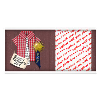 Father's Day Red Shirt with Barn Background Picture Card