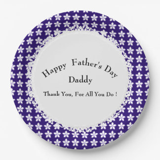Father's-Day-Royal-Floral-Celebration-Template 9 Inch Paper Plate
