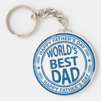 Father's day rubber stamp effect basic round button keychain