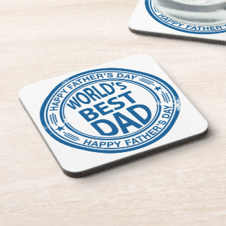 Father's day rubber stamp effect drink coaster
