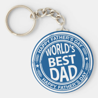 Father's day rubber stamp effect -white- basic round button keychain